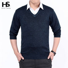 Solid Color Cashmere Sweater Men 2016 New Arrival V Neck Mens Sweaters Wool Casual Pullover Men Long Sleeve Shirt Brand Pull 4XL(China (Mainland))