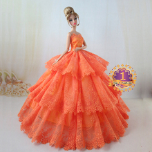 new arrvial high quality luxury elegant orange color wedding dress for FR doll for Barbie doll wedding dress(China (Mainland))
