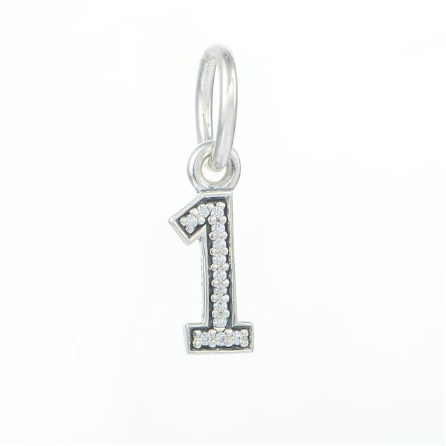 Подходит пандоры прелести браслет аутентичные стерлингового серебра 925 мотаться бусины номер супер 1 с четкими CZ очарование DIY ювелирных оптовая продажа