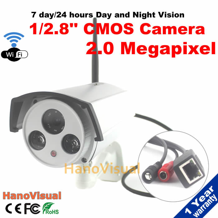 2.0 Megapixel Wireless Indoor/Outdoor Bullet IP camera wi-fi 1080P With Reset Button P2P ONVIF Wireless IP Camera Waterproof(China (Mainland))
