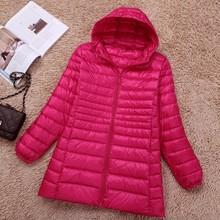 NewBang бренд 6XL 7XL большой размер женский пуховик ультра легкий пуховик Женская длинная куртка размера плюс осень зима с капюшоном(China)
