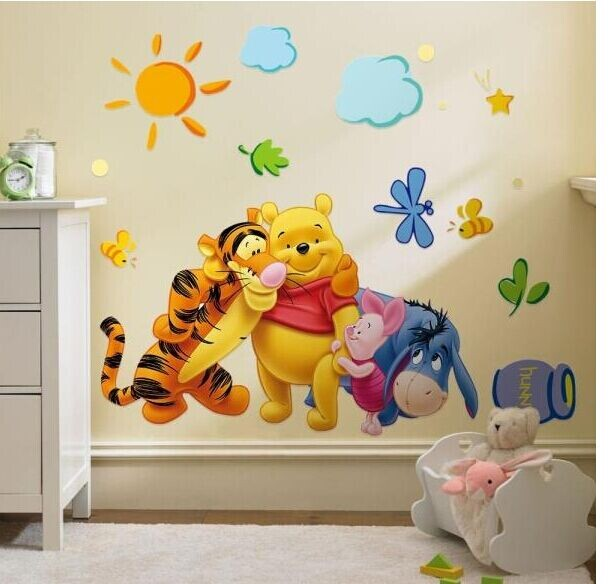 Removable Cut Cartoon Winnie The Pooh Wall Sticker Vinyl decals For Nursery Baby Room Decor QT0028(China (Mainland))