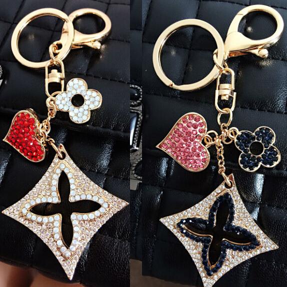 Quality Brand KeyLock Heart Clover Car Keychain Key Chain Bag Hanger Key ring for Women Female Novelty Gifts Llaveros(China (Mainland))