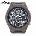 2016 new fashion luxury brand Large Dial Diamond Wood Watch Men women leather diamond quartz watch