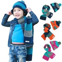 Boys Warm Woolen Coif Hood Scarf Caps Hats Sets For 2-8 Years Old Striped Neck Warmer Free Shipping(China (Mainland))