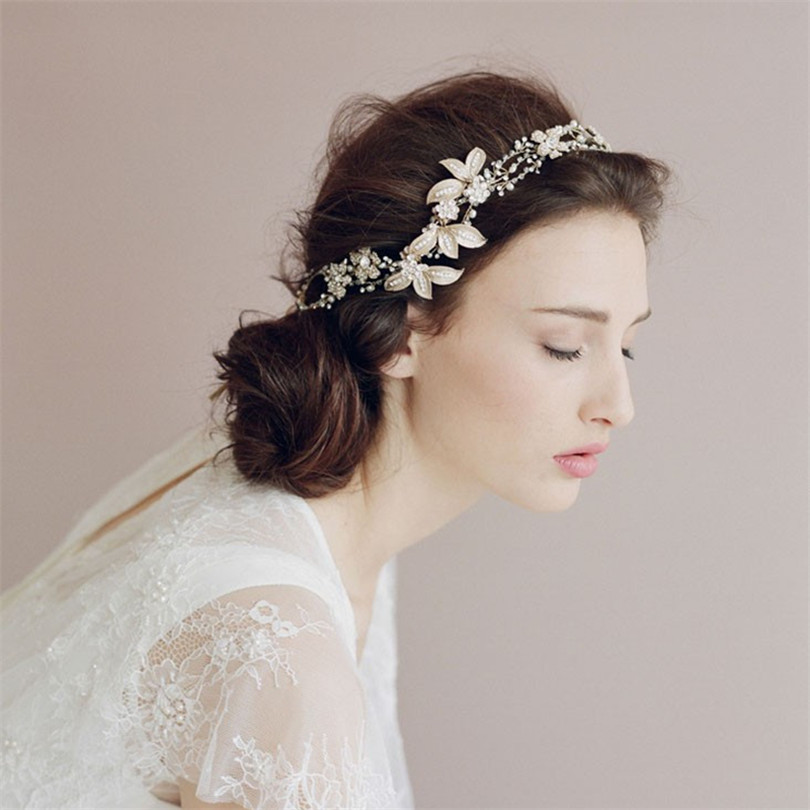 Wedding hair band for bride bridal hair accessories with flower high quality wedding tiara hairbands for the perfect wedding <br><br>Aliexpress