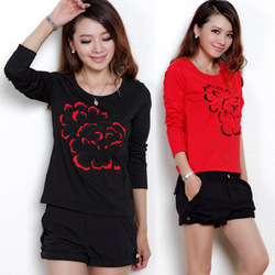 Plus Size Chinese Style Embroidery Flower Color Block Long Sleeve T-Shirt  Women's Basic Shirt