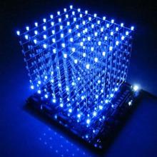 3D Squared DIY Kit 8x8x8 3mm LED Cube Weiß LED Blau/Rot Licht PCB vorstands kostenloser versand(China (Mainland))