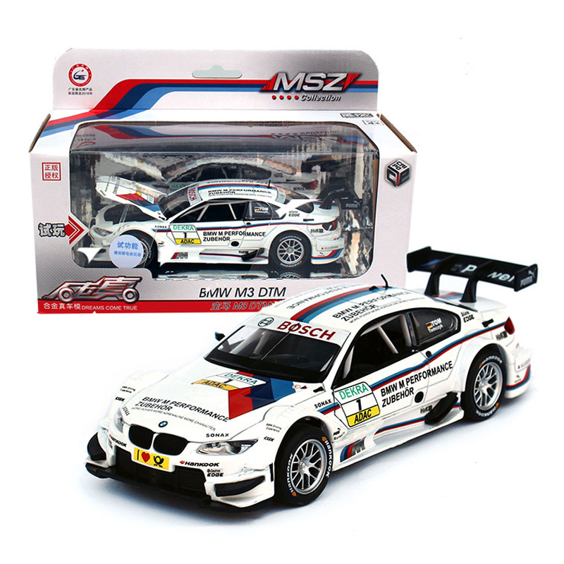 1:32 Metal Alloy Diecast Toy Car M3 DTM Model Miniature Scale Model Sound & Light Emulation Electric Pull Back Car Gift For Boys(China (Mainland))