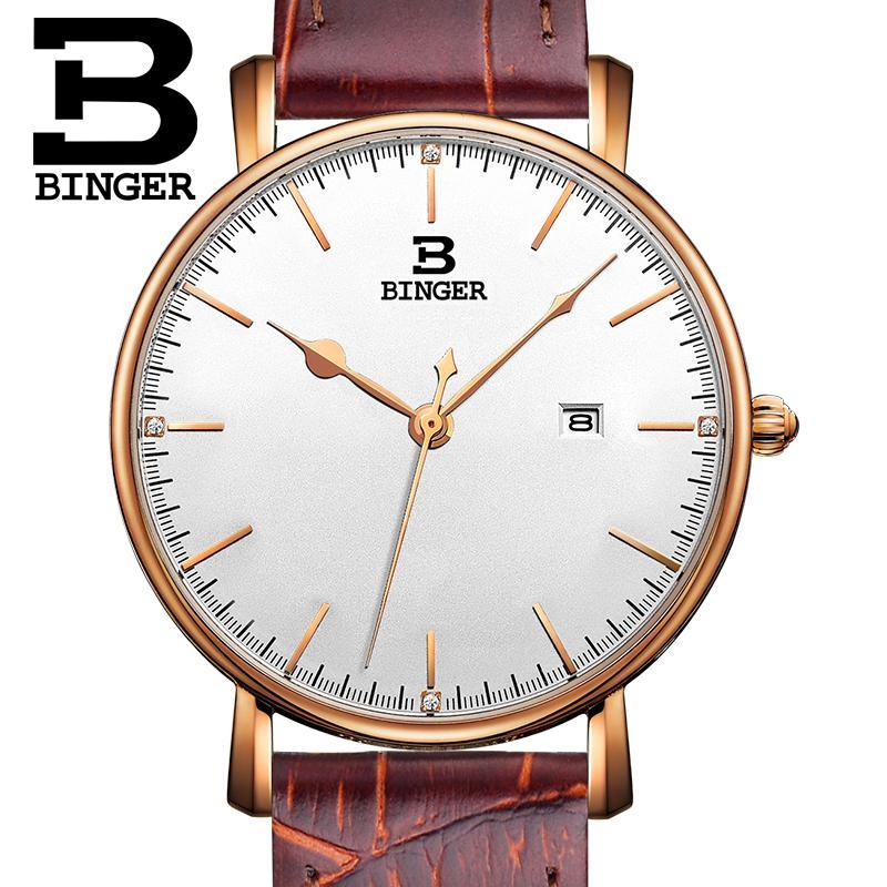Switzerland BINGER women watches luxury brand quartz leather strap ultrathin Complete Calendar Wristwatches Waterproof B3053W-3<br><br>Aliexpress