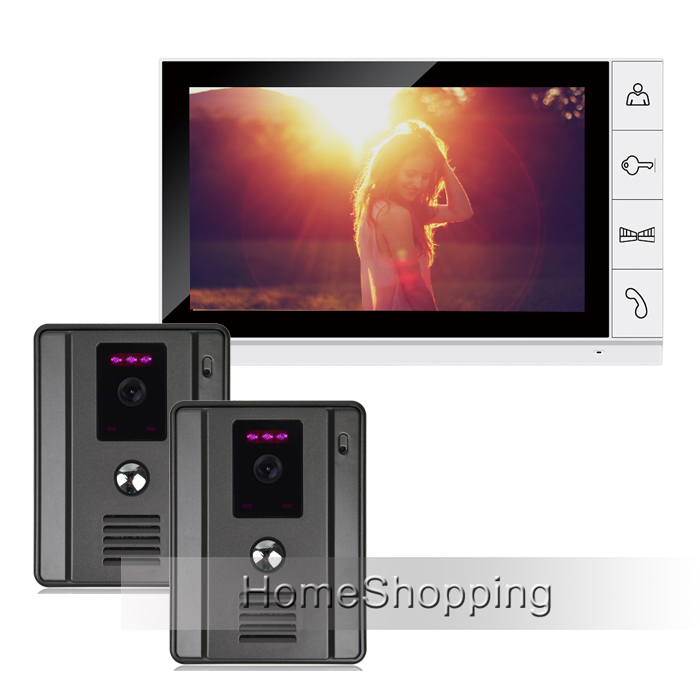 """FREE SHIPPING New Home 9"""" Color Screen Video Door Phone Intercom System + 2 Night Vision Door bell Camera + 1 Monitor IN STOCK(China (Mainland))"""