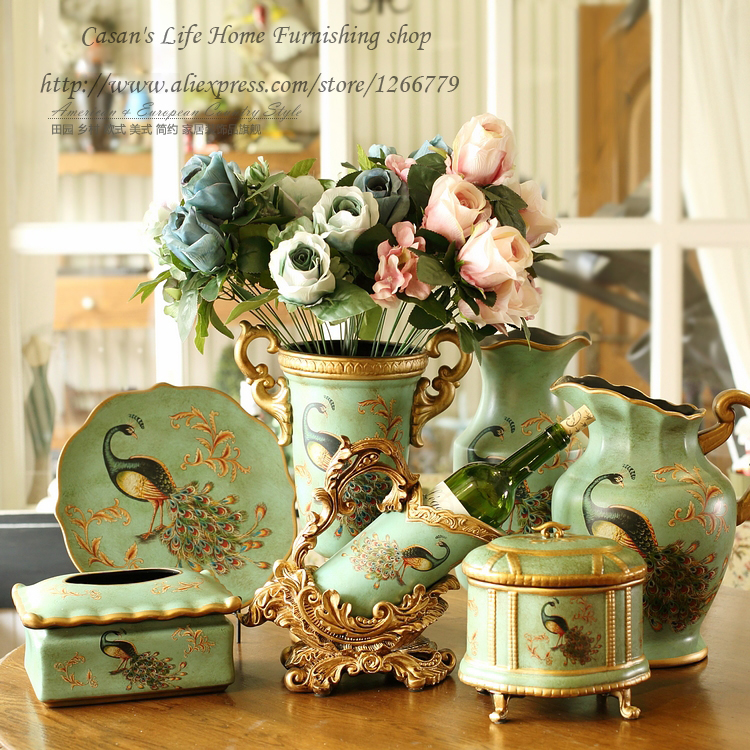 European style high quality hand-painted ceramic Boutique,Elegant peacock series Home Furnishing decorative ceramic ornaments(China (Mainland))
