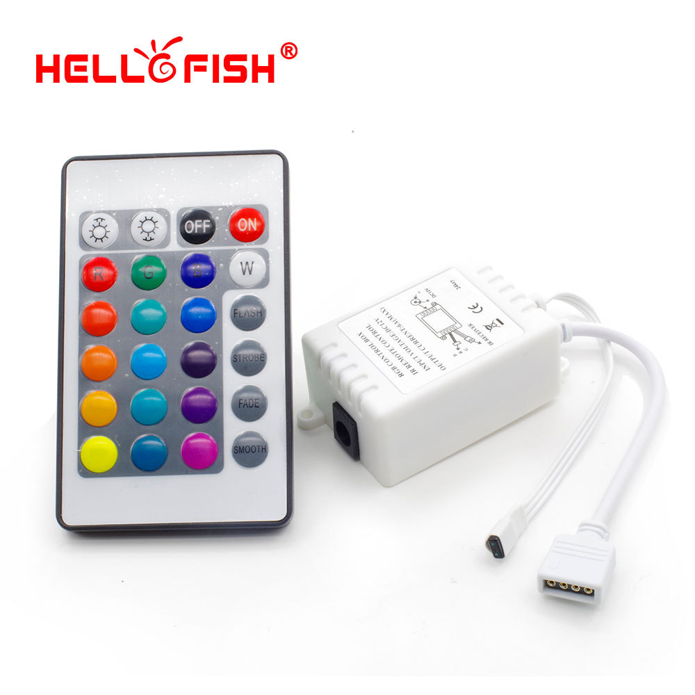 Hello Fish Dream color LED strip controller, 24 keys IR Remote Controller for RGB strip, Free shipping(China (Mainland))