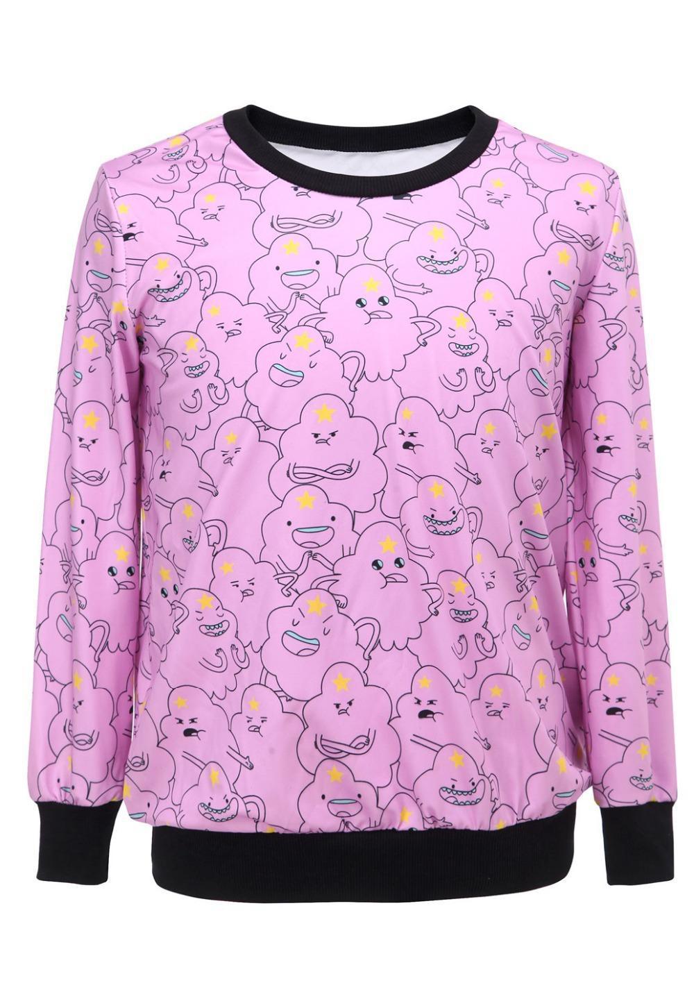 Rosa simpatico cartone animato disegno t shirt da donna