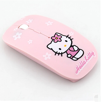 Ultra Thin Hello Kitty Wireless Mouse 2.4Ghz USB Computer Mouse Pink Girl Pro Game Mice Gift free ship(China (Mainland))