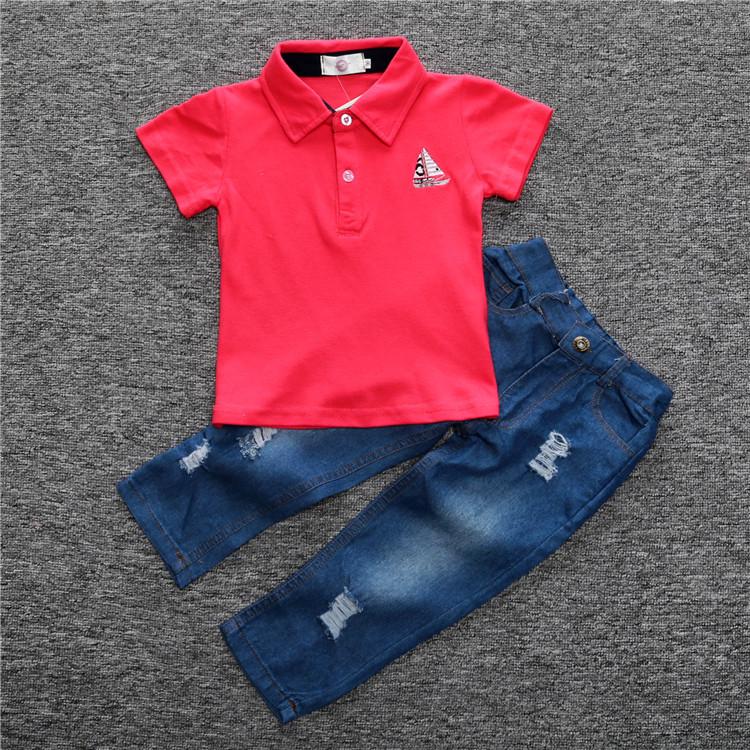 SY-911 novas Crianças 2016 verão nova algodão vermelho-de manga curta t-shirt + calça jeans dois conjuntos de roupas infantis meninos se adapte Frete Grátis
