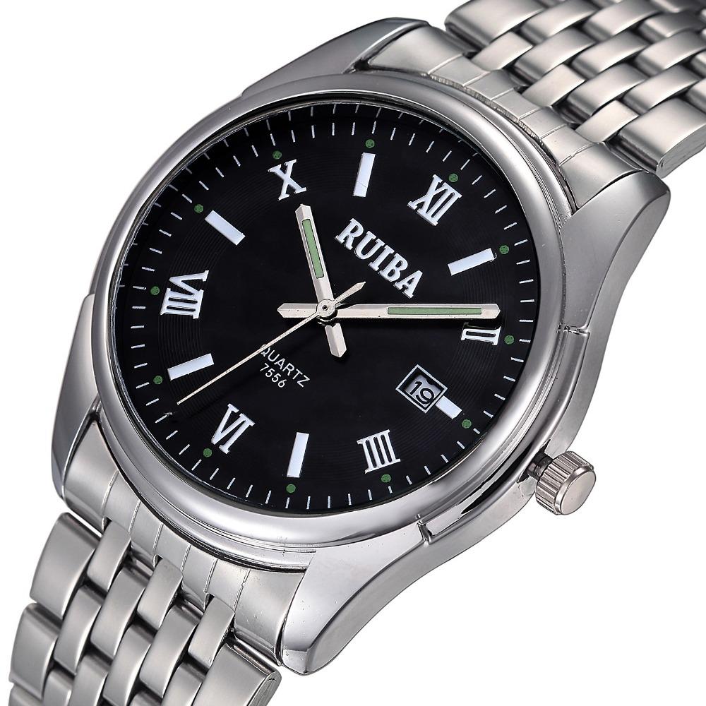 Watches Mens Luxury Brand Watch RUIBA Quartz Roman Digital Time Scale Men Full Steel Wristwatches Casual With Calendar Clock<br><br>Aliexpress