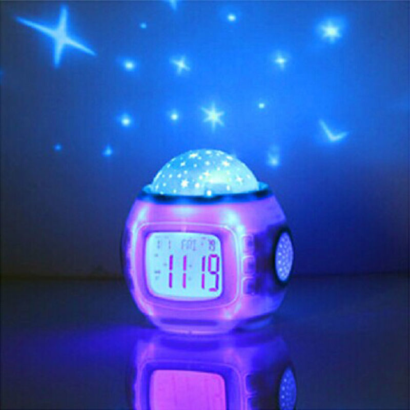 Room Novelty Led Night Light Rotary Flashing Projector Starry Sky Star Moon Table Lamp Children Nightlight Gift With Alarm Clock(China (Mainland))