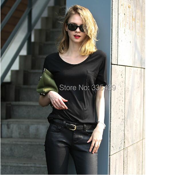 2014 Fashion plus size Women Cotton T Shirt Basic Solid Color O Neck Blouse Short Sleeve Pocket Modal Loose Tops - kiki chan's store