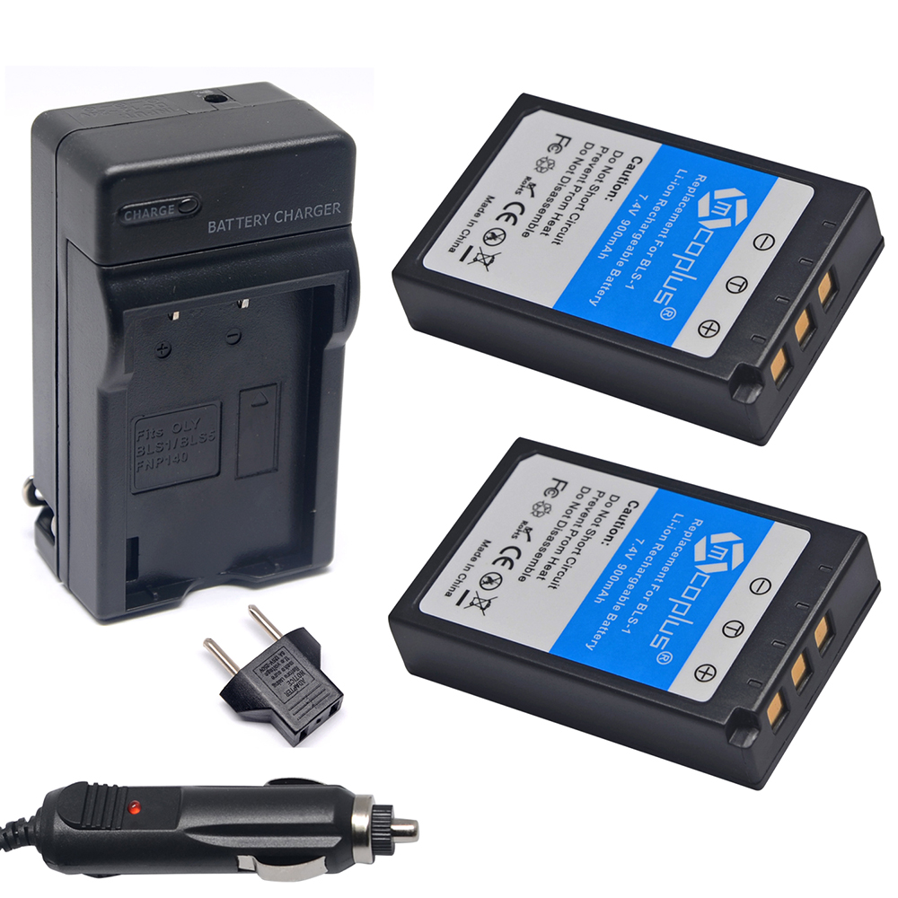 Mcoplus 2x BLS-1 Battery + Charger for Olympus E-P3 E-PM1 E-PL1 E-PL2 E-PL3 E-PL5 E-PL7 OM-D E-M10 Stylus 1 Digital Camera(China (Mainland))