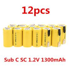 12pcs Sub C SC 1.2V 1300mAh Ni-Cd NiCd Rechargeable Battery -Yellow(China (Mainland))