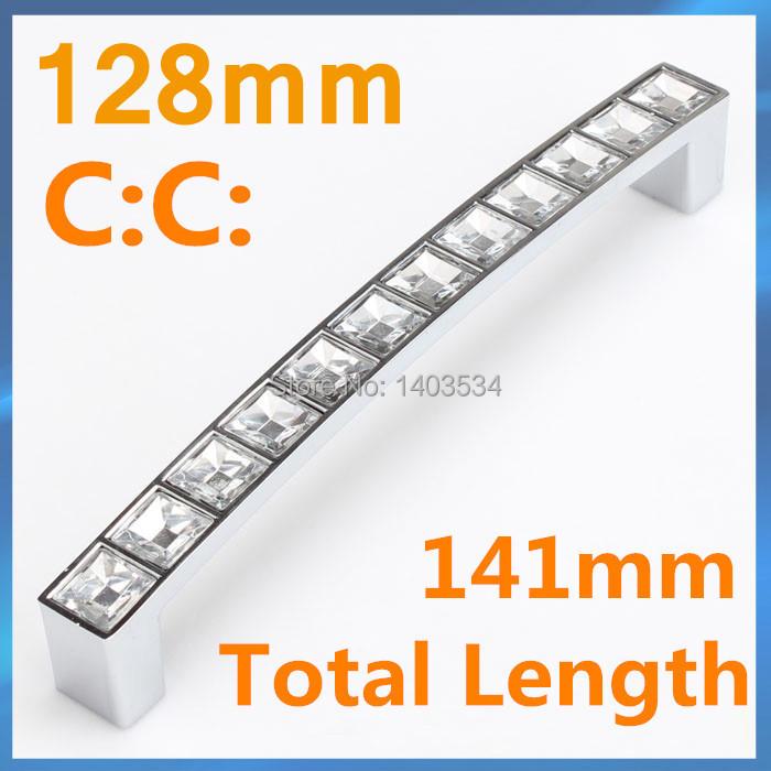 Гаджет  10pcs Length 141mm Hole Pitch 128mm crystal Glass handle drawer handle furniture pulls cabinet handle None Мебель