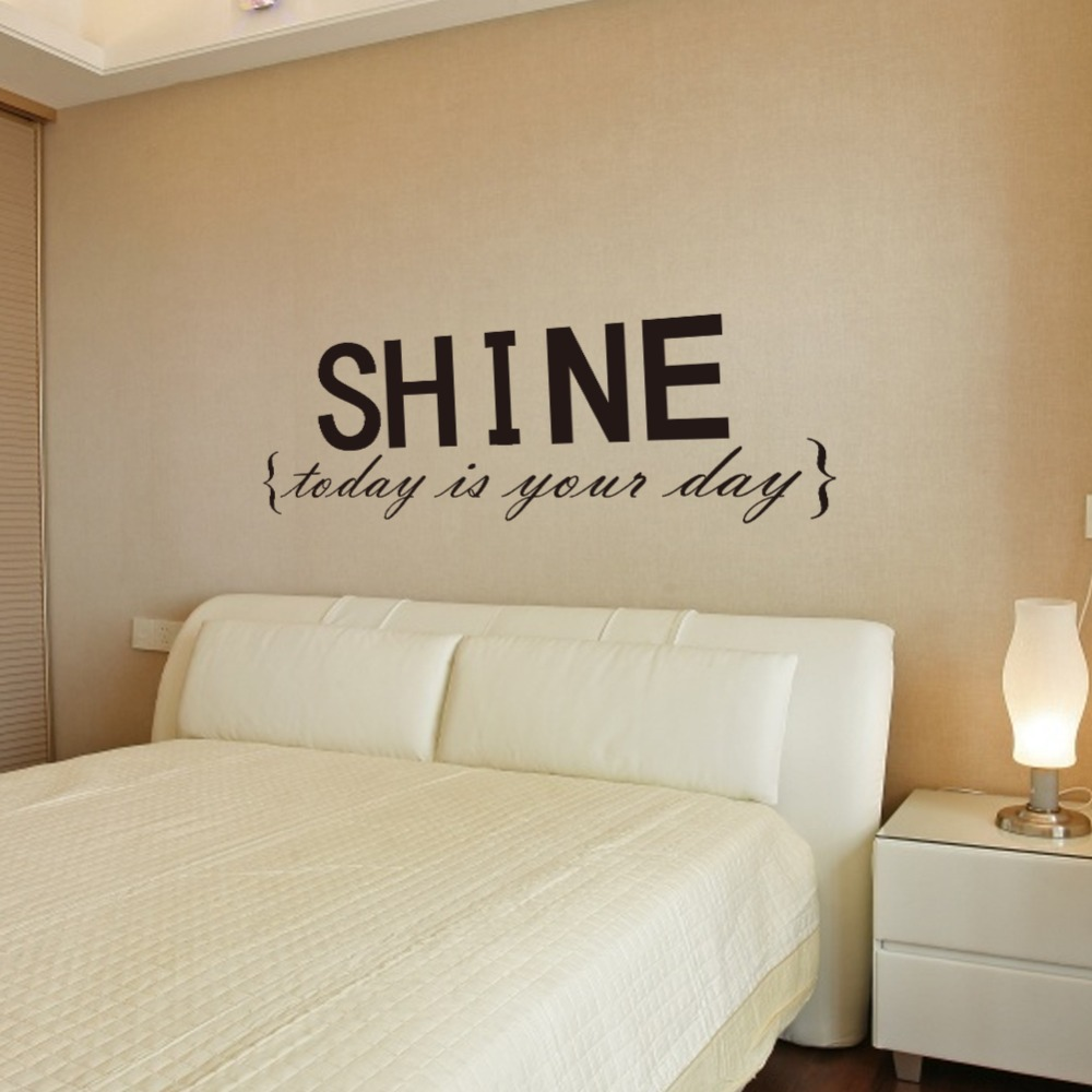 Wall decor decal stickers quotes shine wall letters decor for Decoration quotes