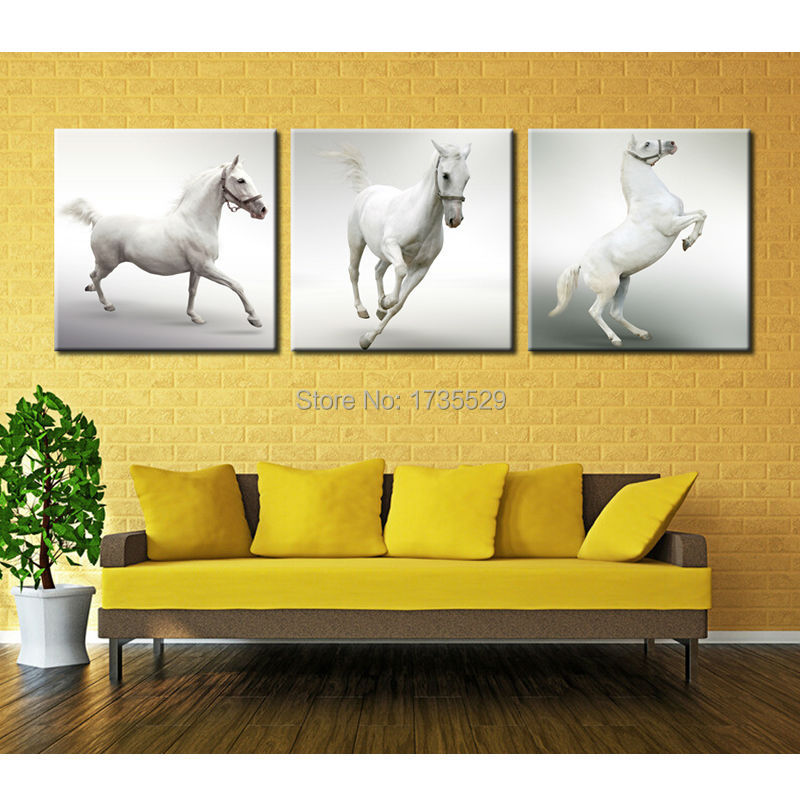 3 pieces modern decorative picture white horse animal oil for Modern decorative pieces
