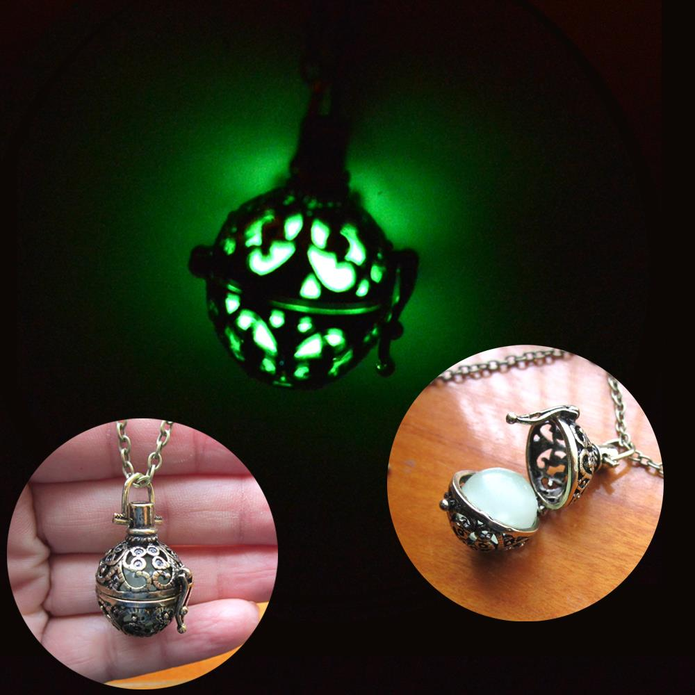 Glowing Orb Necklace Glow Locket Steampunk Fairy Jewelry Antiqued Silver bronze ANGELS BREATH Prayer Locket(China (Mainland))