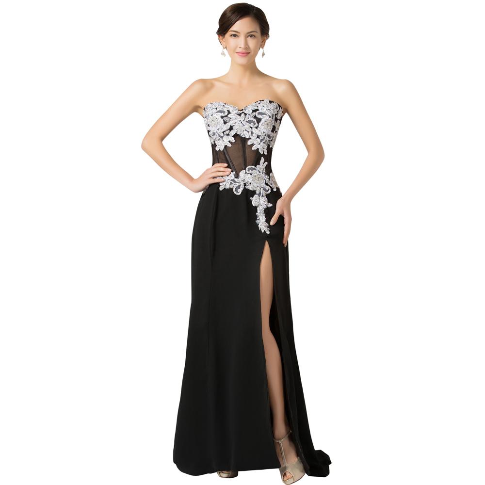 High Split Long Black Lace Evening Dress 2016 Sexy See Through Grace Karin Women Formal Dresses Traje De Gala Evening Gowns 7519(China (Mainland))