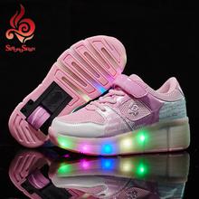 Children Heelys Light Shoes Junior Roller Skate Shoes Girls Boys LED Light Heelys For Children Kids Sneakers With Wheels pink