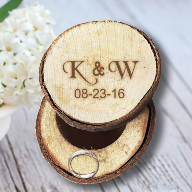 Customize Ring Box with Initials and Date Wooden Ring Box Wedding in Event & Party Supplies Romantic Wedding Ring Bearer Box(China (Mainland))