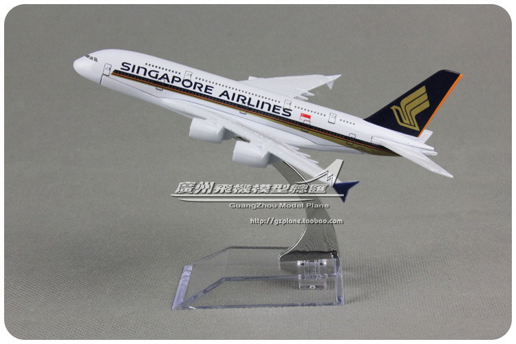 16cm Alloy Metal Air Singapore Airlines Plane Model Airbus A380 9V-SKA Airplane Model with Stand Toy Decoration Gift(China (Mainland))