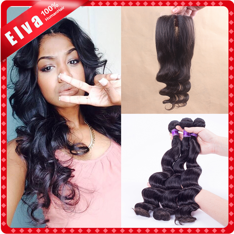 Unprocessed Virgin Peruvian Loose Wave With Closure,3pcs Human Hair Wave With Closure,3 Part Closure With Bundles DHL Freeship<br><br>Aliexpress