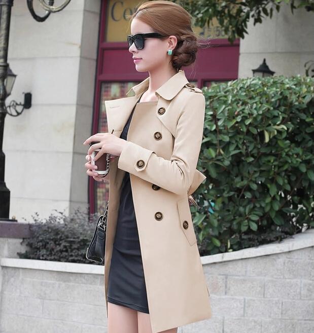 new 2016 spring coat women slim overcoat medium long ...