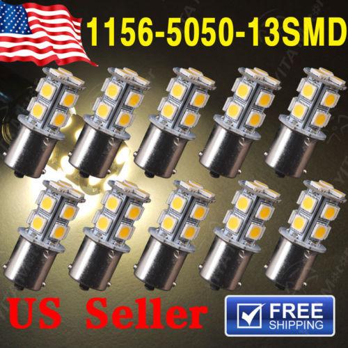 10Pcs led Car Warm White 1141 RV led Bulbs 1156 BA15S 13-SMD 5050 LED Backup Reverse Light bulbs External Car Light Source 0305(China (Mainland))