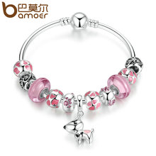 BAMOER 2017 New Arrival Silver Plated Lovely Dog Pendant Pink European Glass Beads Charm Bracelets & Bangles Jewelry PA3810(China (Mainland))