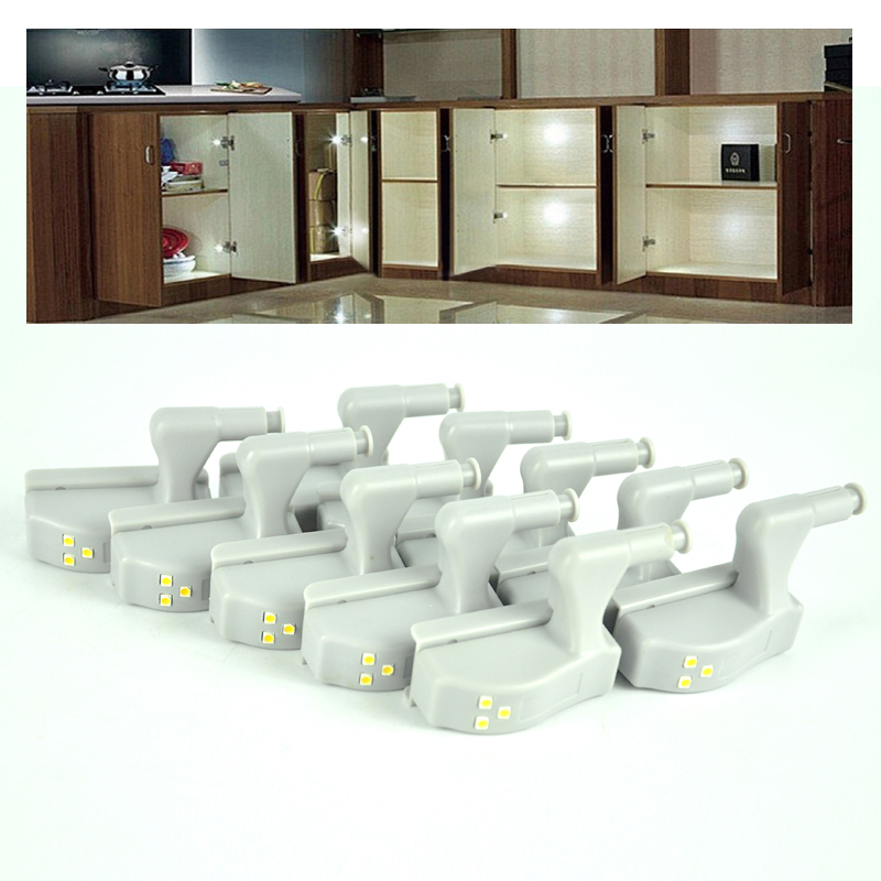 10pcs/lot Universal Kitchen Bedroom Living Room Cabinet Cupboard Closet Wardrobe Hinge LED Night Lights White Warm System(China (Mainland))