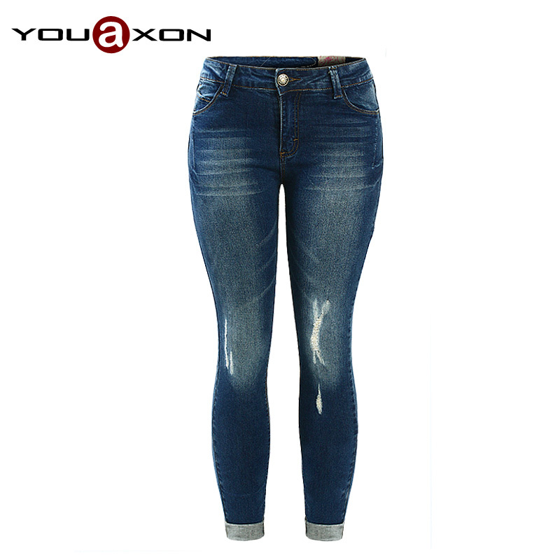 1895 YouAxon 5 Pockets Ultra Stretch Women`s True Denim Trousers Woman Pencil Jean Pants Skinny Ripped Jeans For Women(China (Mainland))