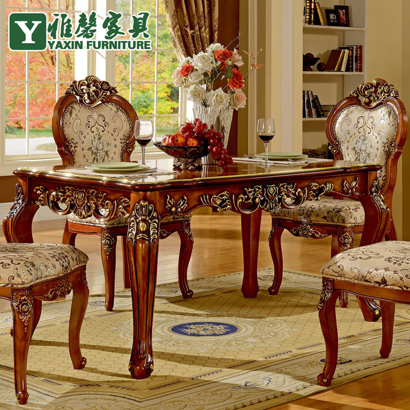 Xin Ya European Antique Wood Dining Table And Chairs Combination Of Imported