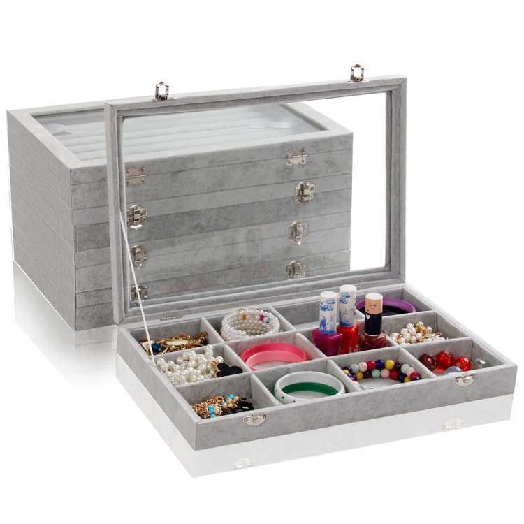 35.5x24.5 Multifunctional 1pc Gray Ice Velvet Jewelry Display Case Storage Organizer Tray Box With Glass Lid For Necklace Ring(China (Mainland))