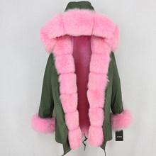 OFTBUY 2019 longo parkas jaqueta de inverno mulheres casaco de pele real natural fox fur guarnição capa outerwear preto streetwear grosso quente parka(China)