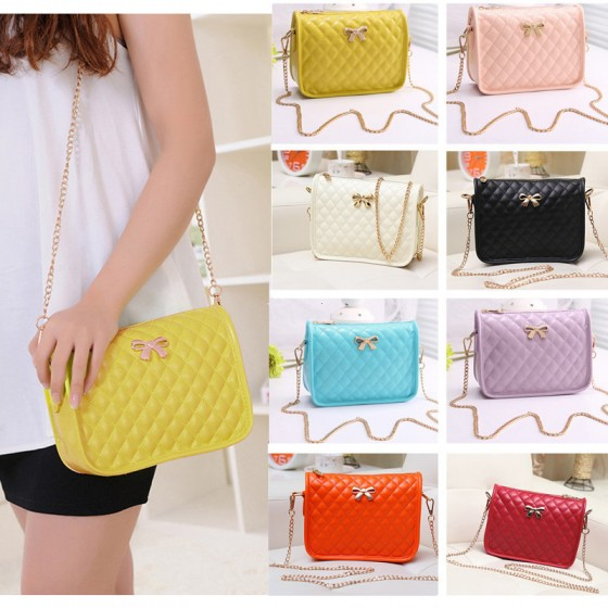 New Fashion Women Girl Shoulder Bag PU Leather Check Pattern Crossbody Messenger Bag Beige(China (Mainland))