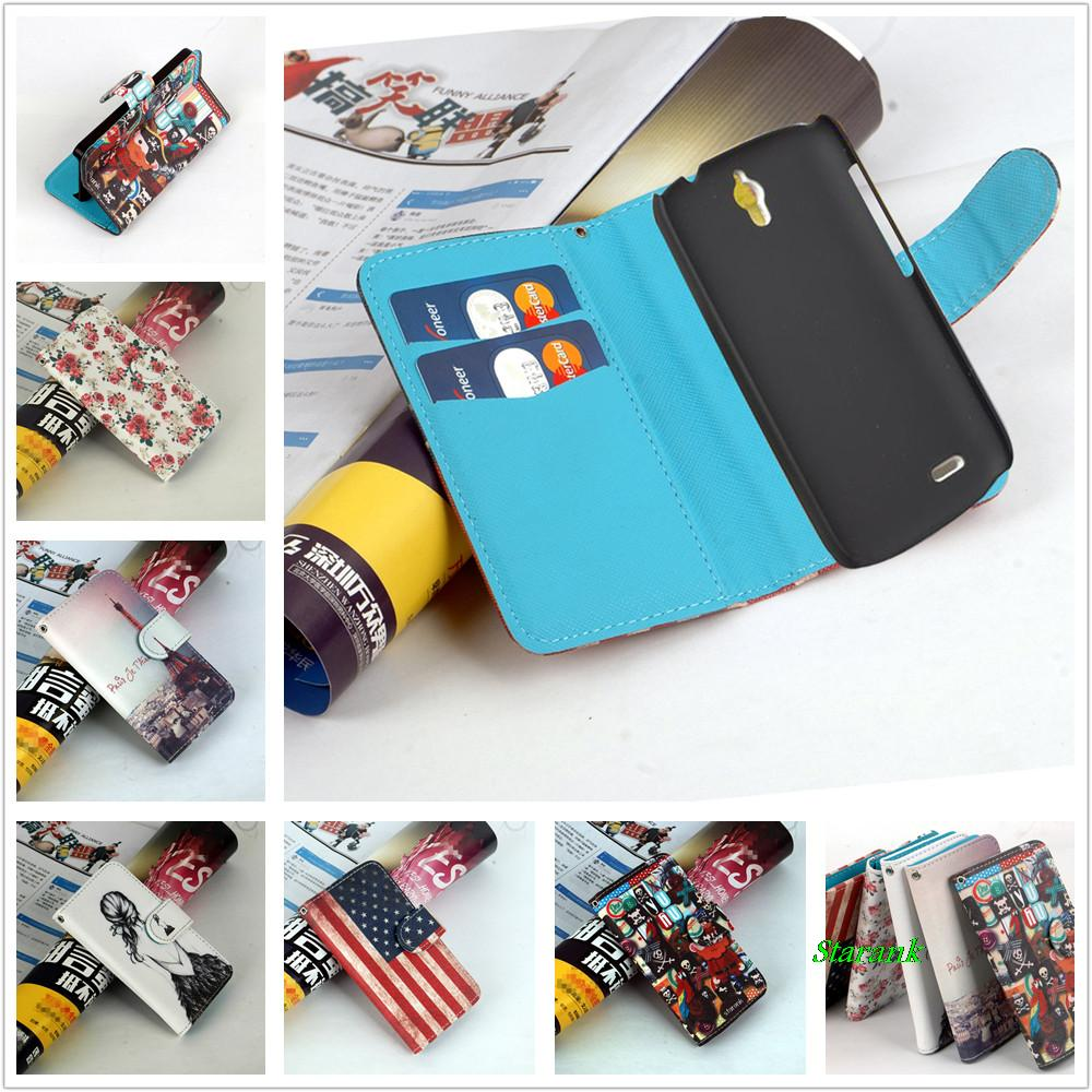 Hot Item Pattern Leather Case Cover For Huawei Ascend G610 G610s C8815,with stand function and card slots,(China (Mainland))