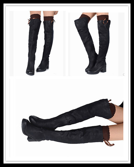 Hot Sale Black Booties round Toe Thigh High Boots Tight Motorcycle Boots genuine Leather Women Boots Shoes Woman high heels(China (Mainland))