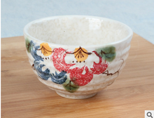 Free shipping good quality Japanese matcha bowl, ceramic matcha tea set, 300ml exprot peony flower bowl