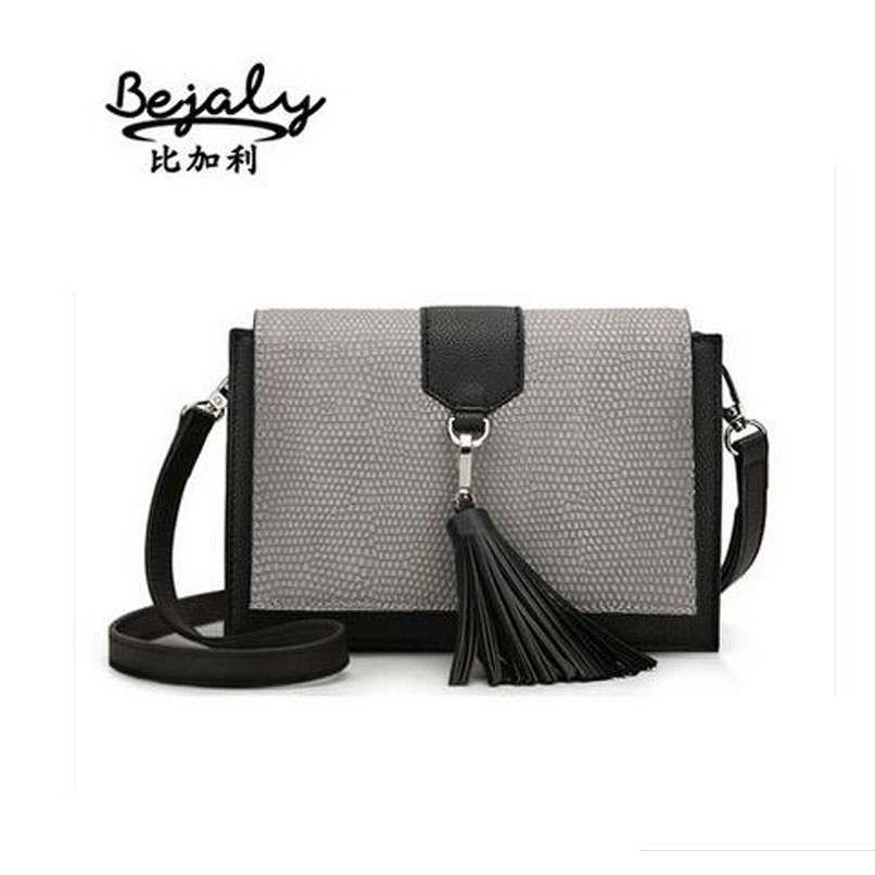 Famous brand top quality dermis women bag  Stylish stitching Shoulder Messenger Bag Fashion tassel small square package<br><br>Aliexpress