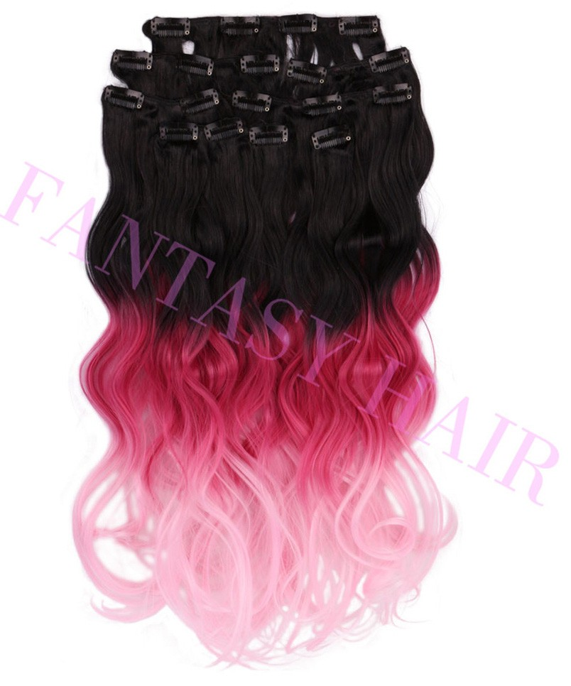 Heat resistant no shedding hot pink ombre body wave hair weave synthetic clip in hair extensions 8pcslot 20inch 160g P09383-4