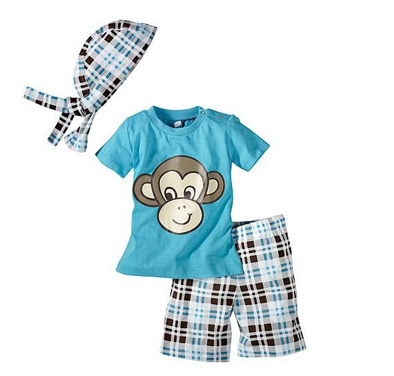 Retail 2014 Children Summer 3 Pcs Boy Clothing Set (Monkey Shirt +Hat+ Plaid Shorts)For 1-5 Years Kids Suits Baby Boys Clothes(China (Mainland))