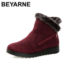 BEYARNE women winter shoes women's ankle boots the new 3 color fashion casual fashion flat warm woman snow boots free shipping(China (Mainland))